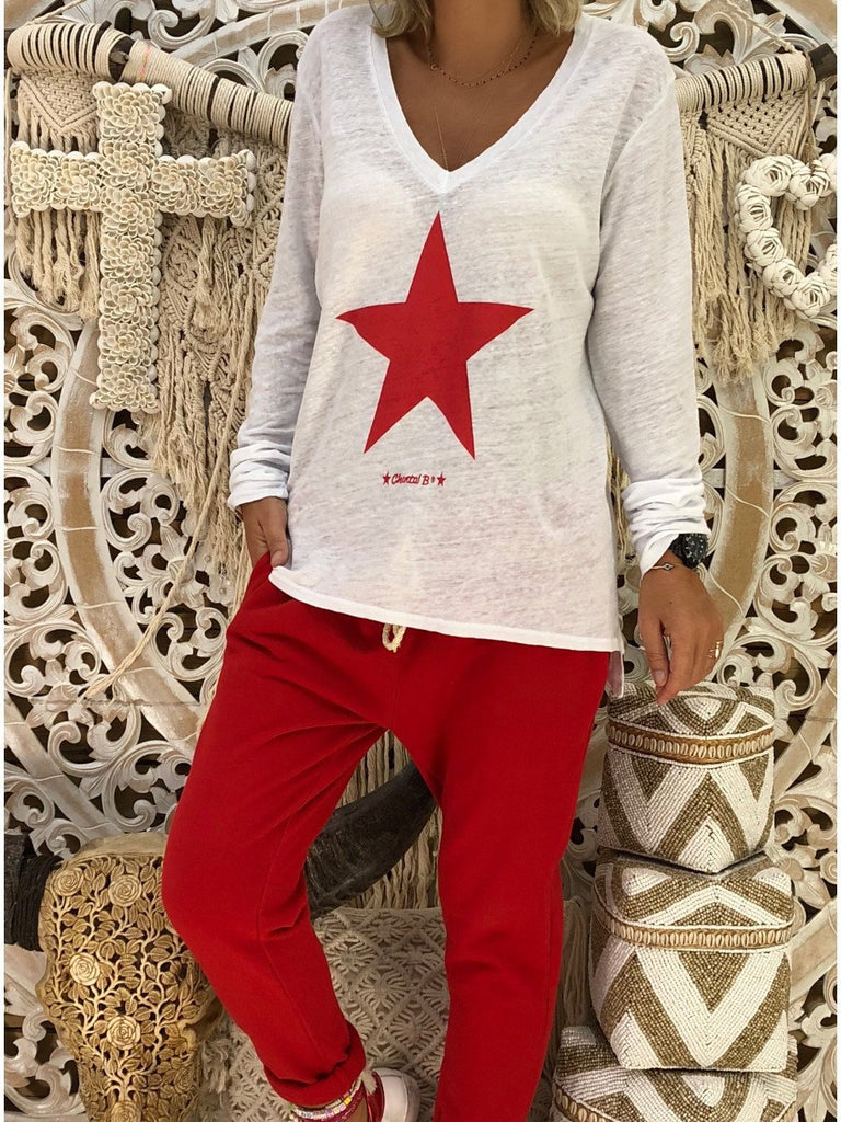 Women Printed Long-sleeved Tops V-neck Sweatershirt