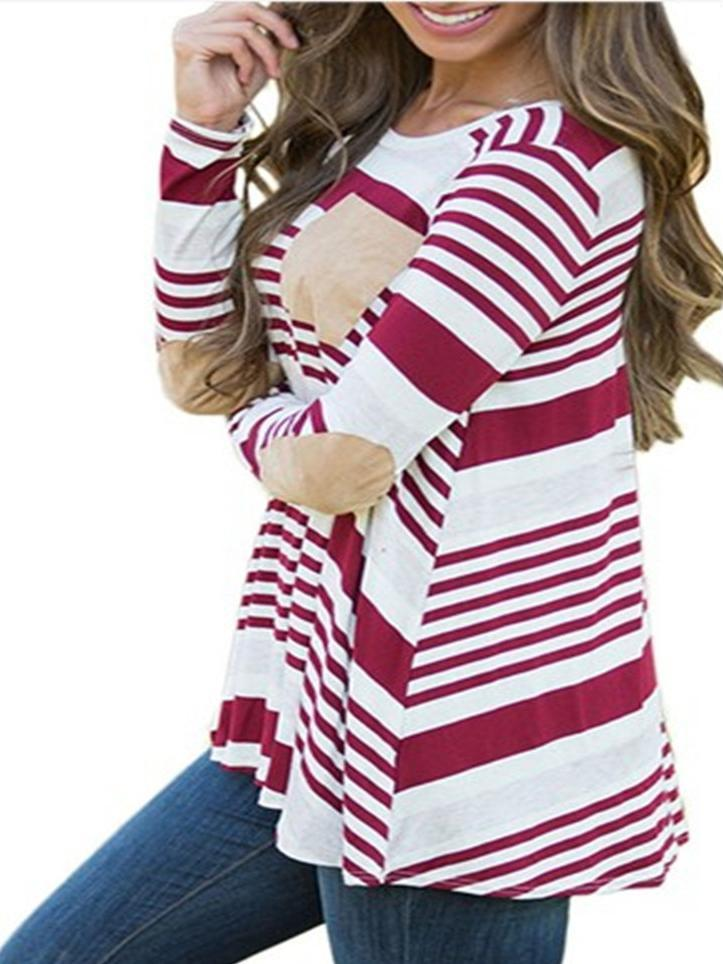 Women Round Neck Long Sleeve Striped Stitching Tops