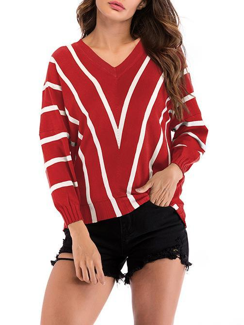 Women Striped V-neck Sweater Loose Bat Sleeve Tops