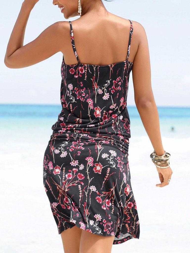 Women Printed Sling Round Neck Short Dresses