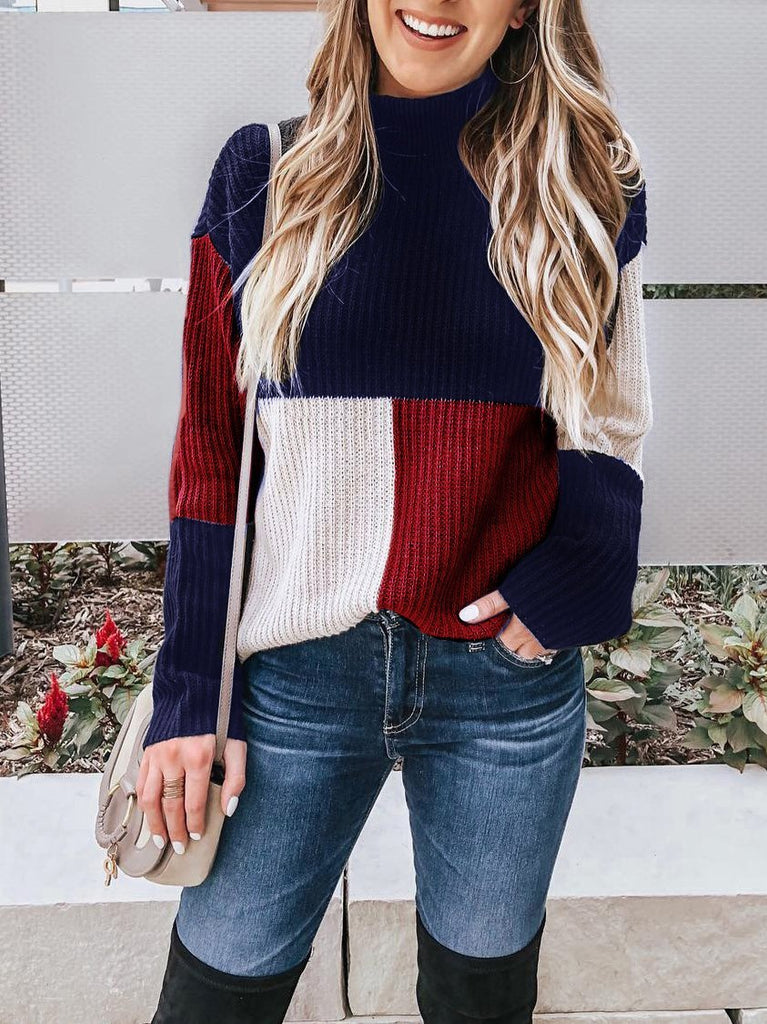 Women Autumn and Winter Casual Colorblock Pullover Sweater