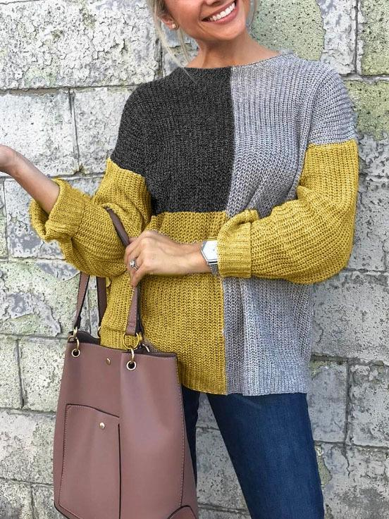 Women Autumn and Winter Casual Stitching Knit Sweater