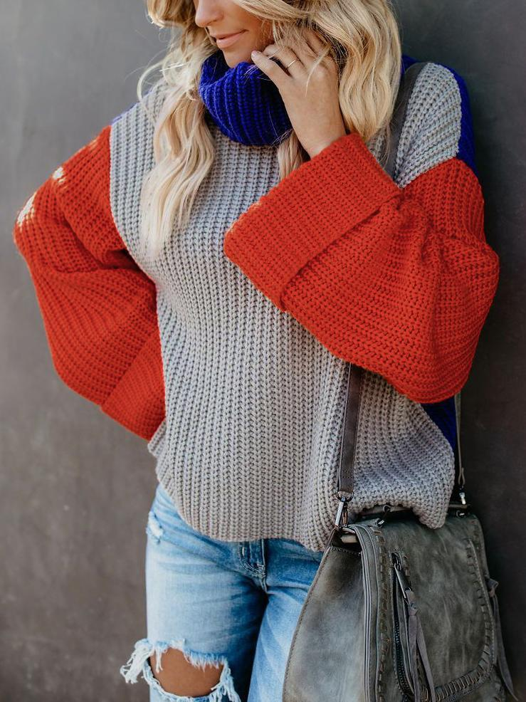 Autumn and Winter Color Matching Turtleneck Loose Sleeves Casual Knit Sweater