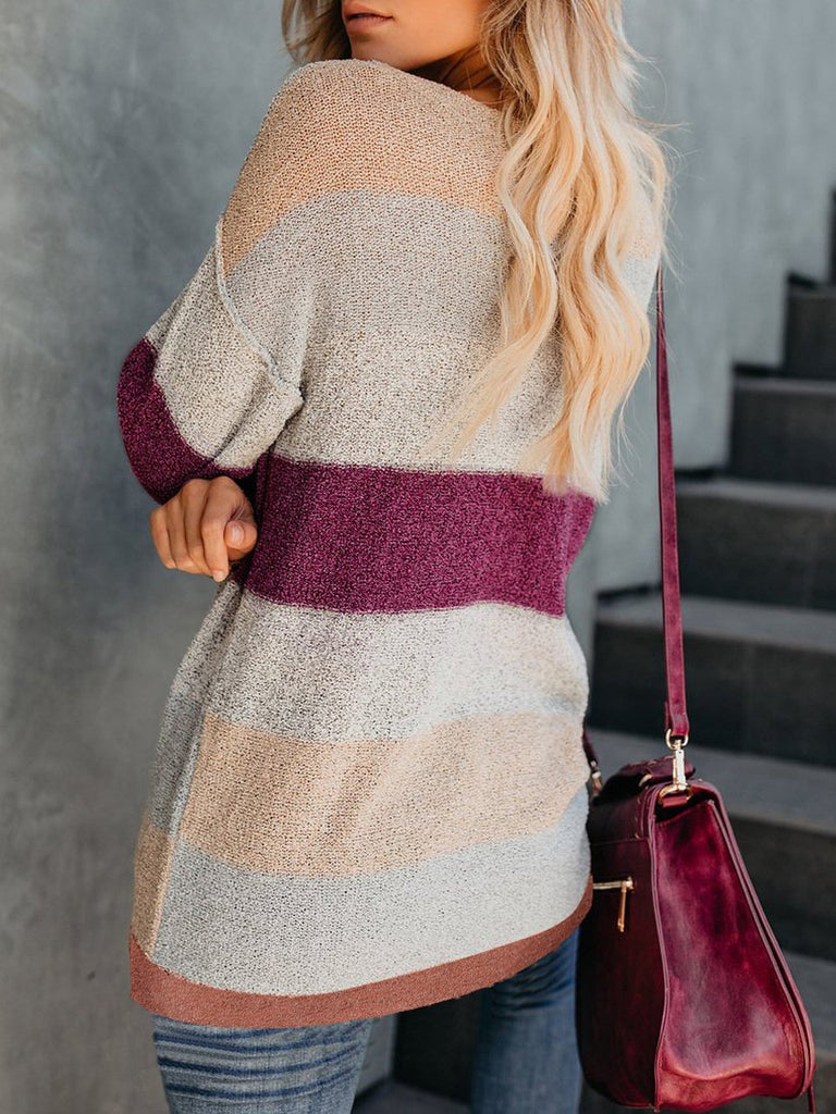 Women Autumn and Winter Casual Color Matching Knit Sweater