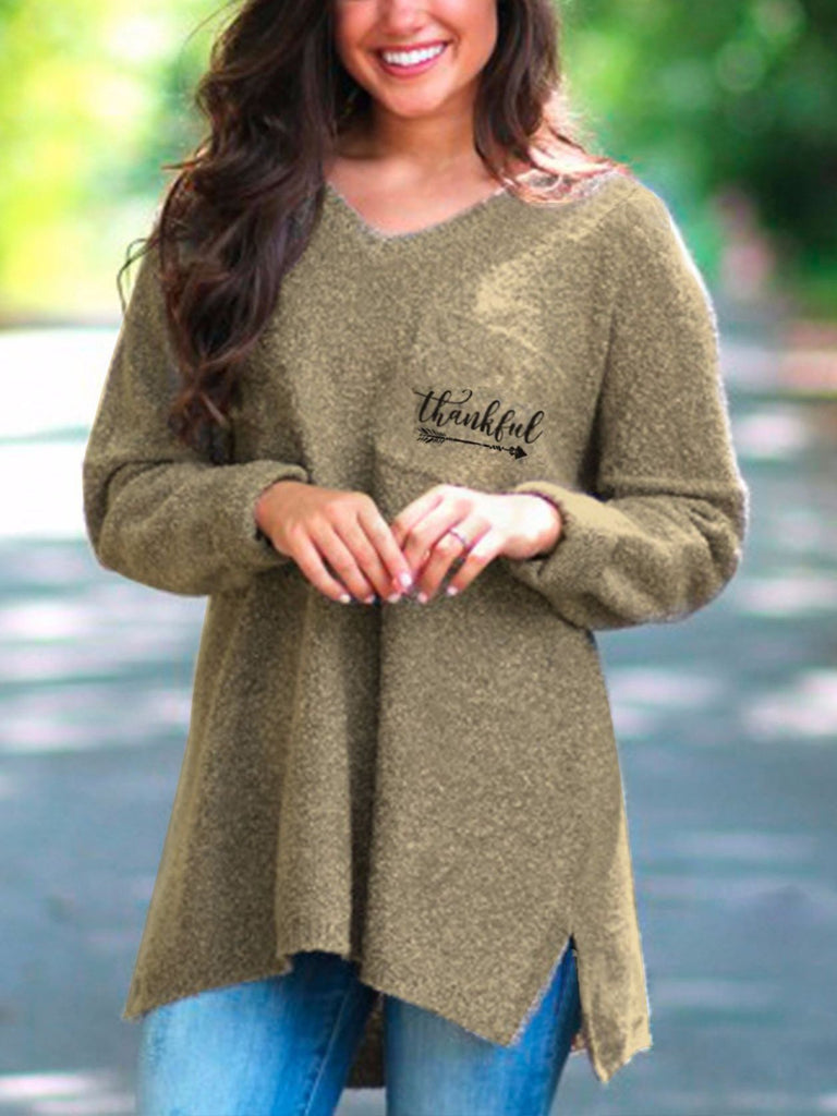 Women V-neck Loose Irregular Embroidered Pocket Sweater Dress