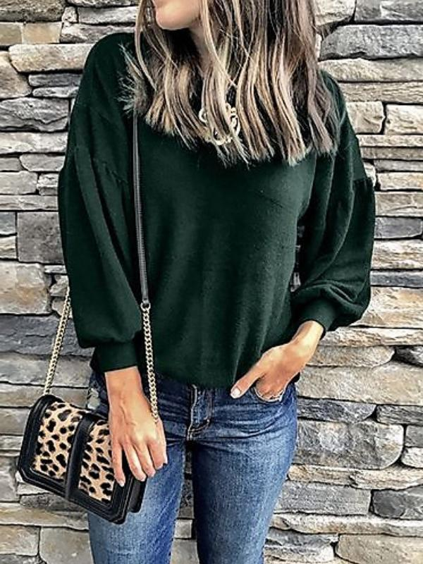 Women Casual Solid Color Round Neck Knit Lantern Long Sleeve Sweater T-shirt