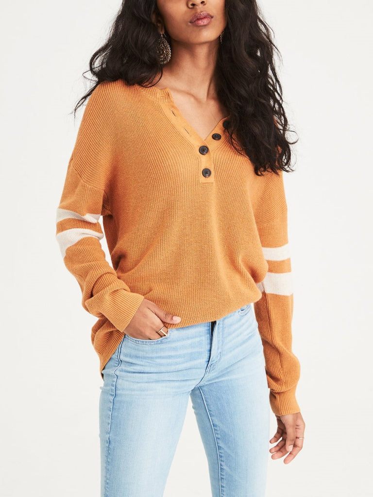 Women Colorblocked V-neck Button Casual Sweater