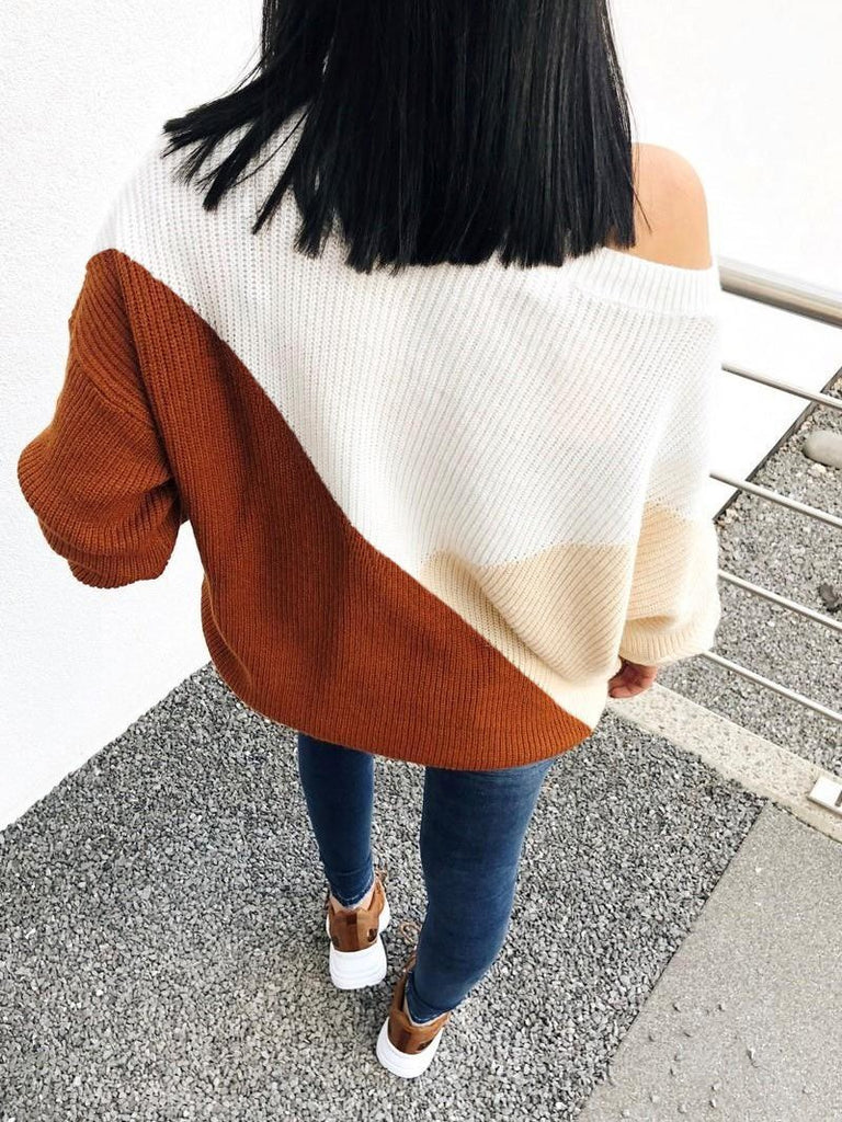 Women Colorblocked Loose Knit Casual Sweater
