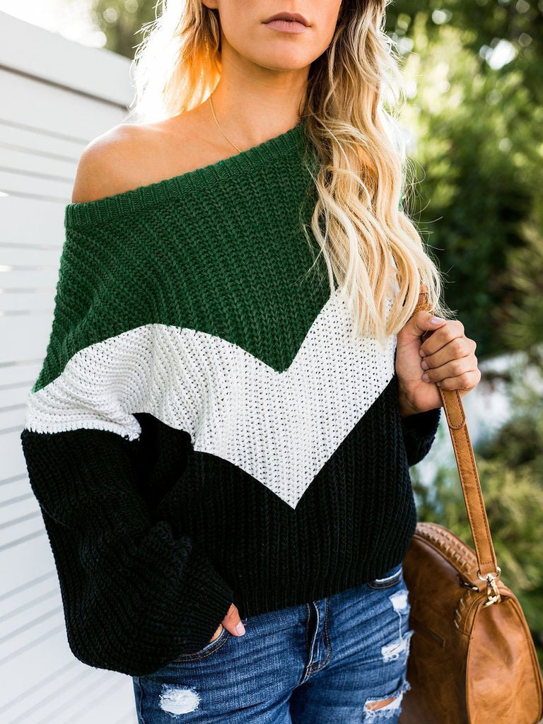 Women Colorblocked  Casual Sweater