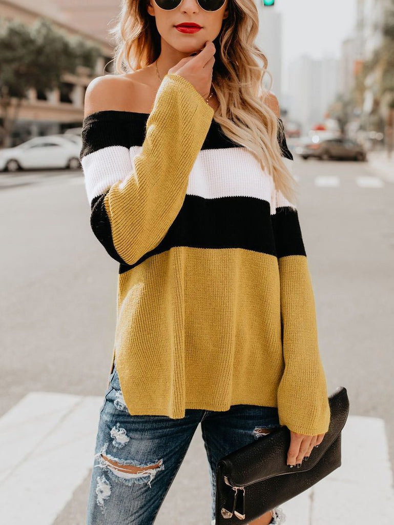 Women Colorblock Off-the-shoulder Sweater