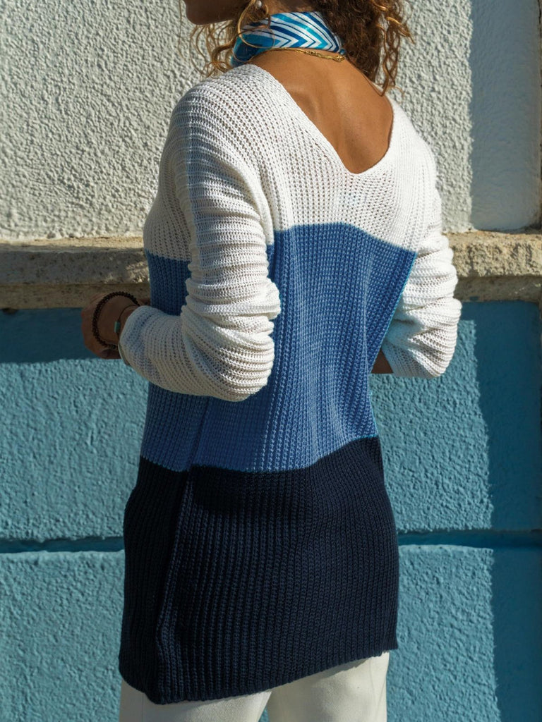 Women Colorblocked V-neck Sweater
