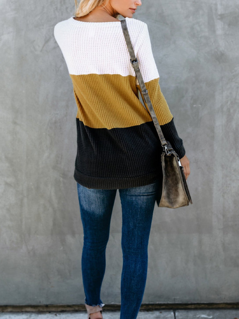 Women Colorblocked Round Neck Sweater