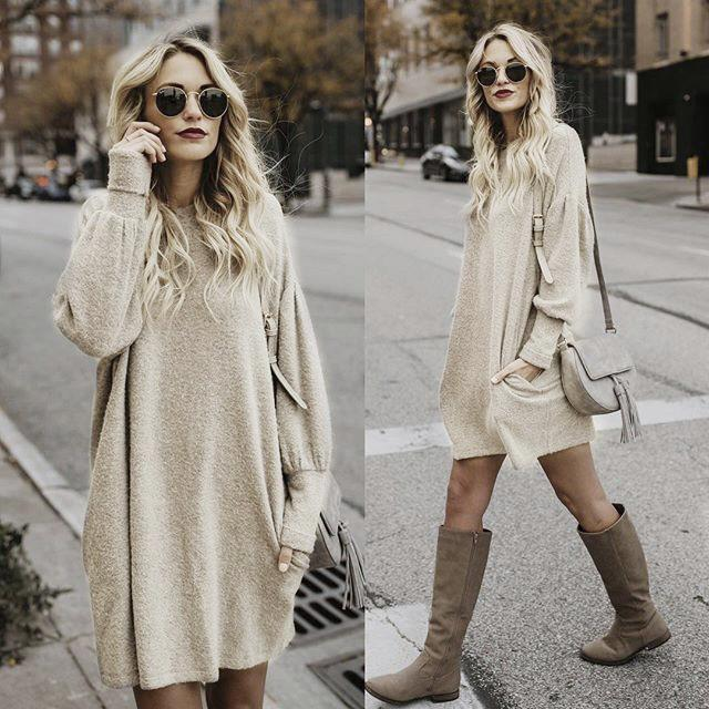 Women Solid Color Round Neck Long Sleeve Sweater Dress Bat Shirt