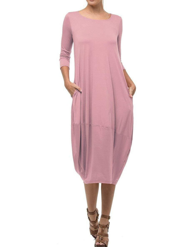 Women Pure Color Long Sleeve Round-neck Maxi Dress