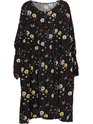 Loose Printing Flower Long Sleeve Linen Dress