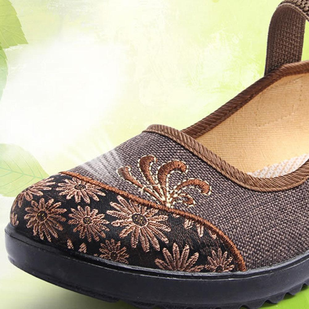 Old Peking Embroidery Splice Elastic Band Soft Cloth Flat Shoes