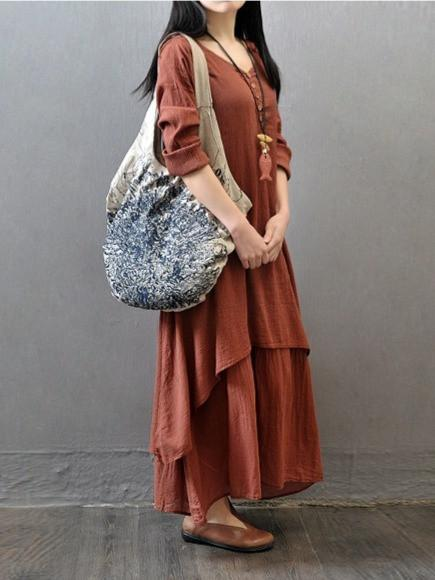 New Fashion Double-Layer Linen Long Sleeves Maxi Dress