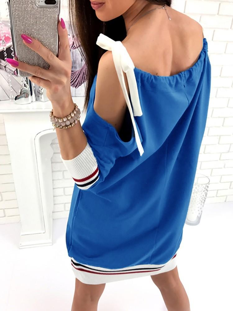 Drawstring Tied Open Shoulder Casual T-shirt Dress
