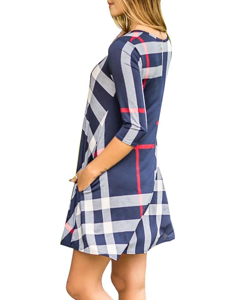 3/4 Long Sleeve Plaid Crew Neck Casual Dress With Pockets Red