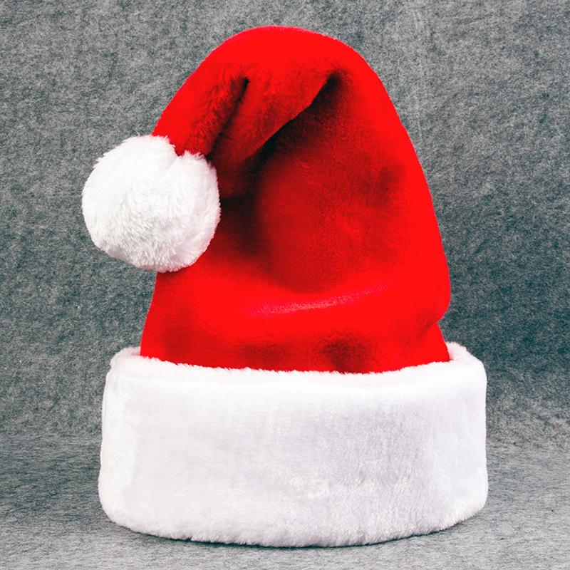 Santa Hat for Adults Plush Christmas Hat Thicken Plus Plush Christmas Hat Red Velvet