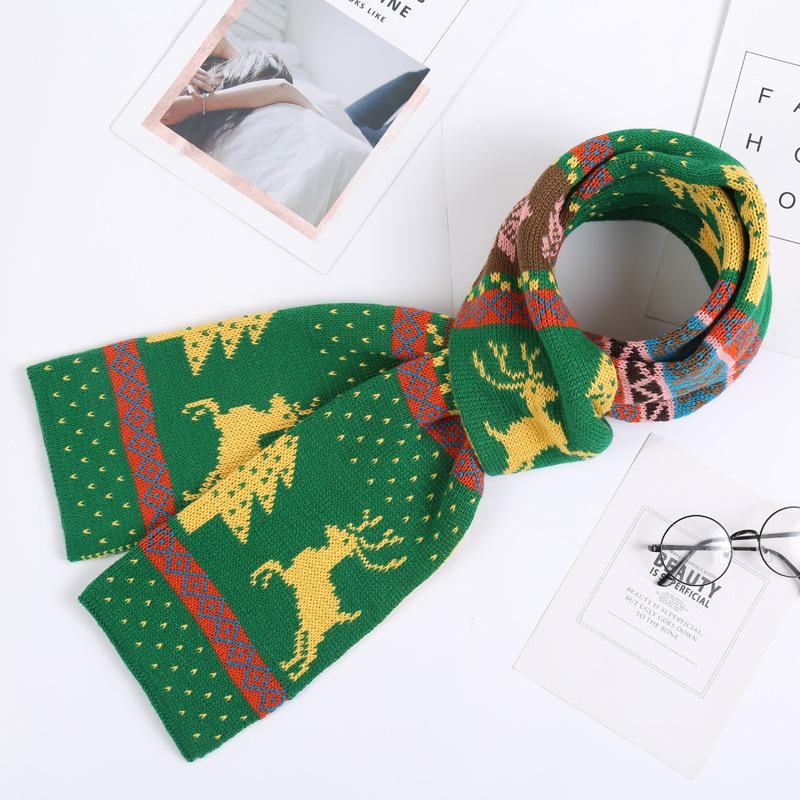 Fashion Women's Winter Bohemian Christmas Deer Double-sided Knitwear Scarf Christmas Gifts