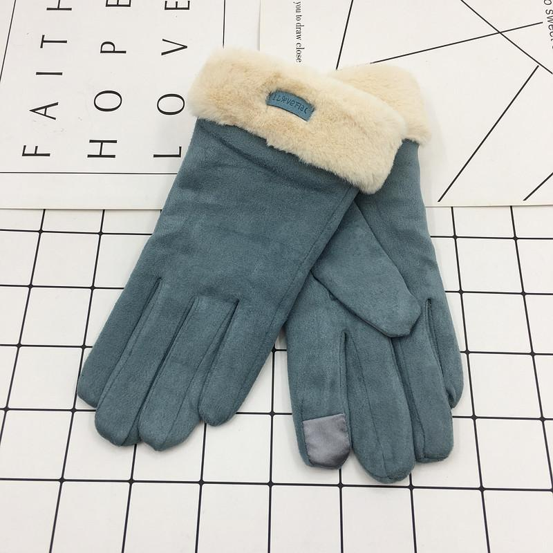 Winter Ladies Gloves Suede Double Layered Plush Gloves Christmas Gifts