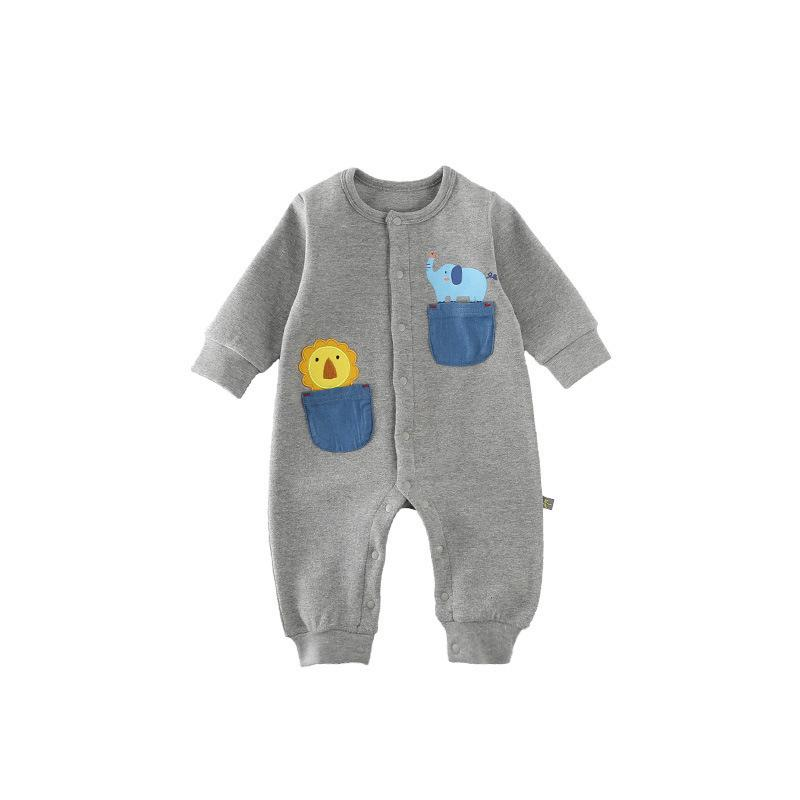 Autumn Baby cartoon Patch Embroidery Long Sleeves Jumpsuit Outfits