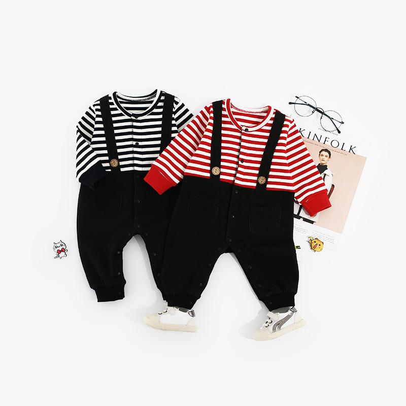 Baby Girls Boys Straps With Pinstripes Fake two-piece Baby Jumpsuit