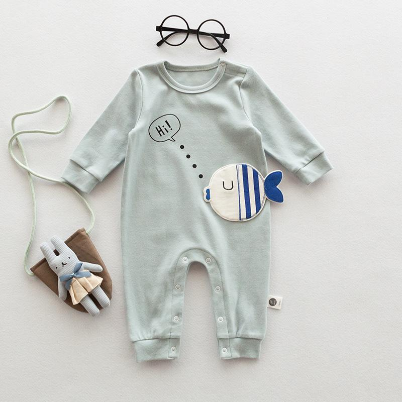 Long-sleeved Jumpsuit Cartoon Romper Round Neck Coat Baby Boys Girls Jumpsuit