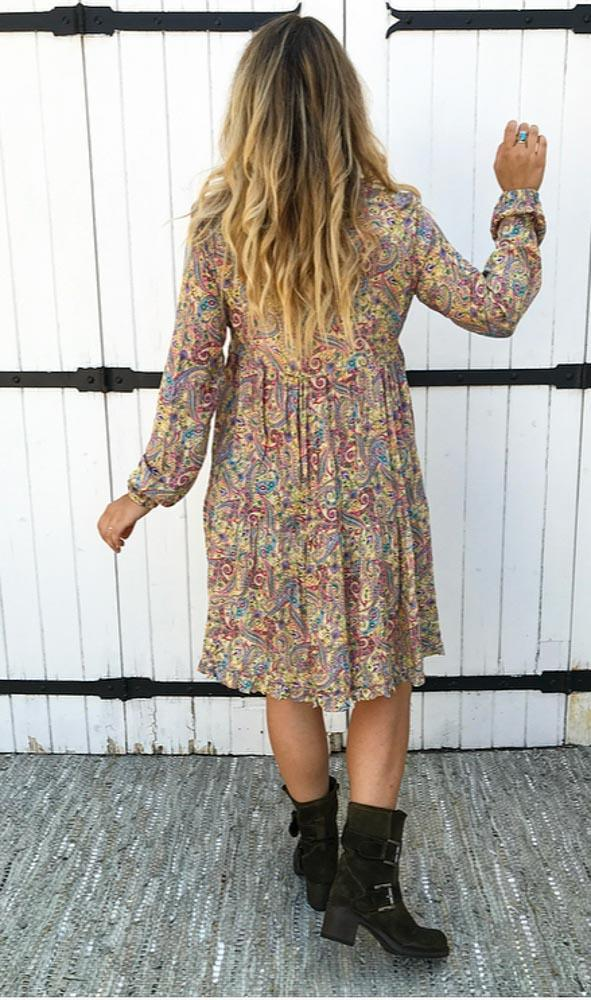 Women Plus Size Bohemia Printed Long Sleeve Dress