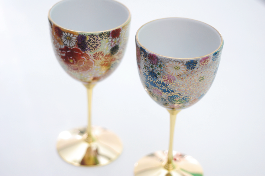 Kutani Ware Paired Wine Glasses
