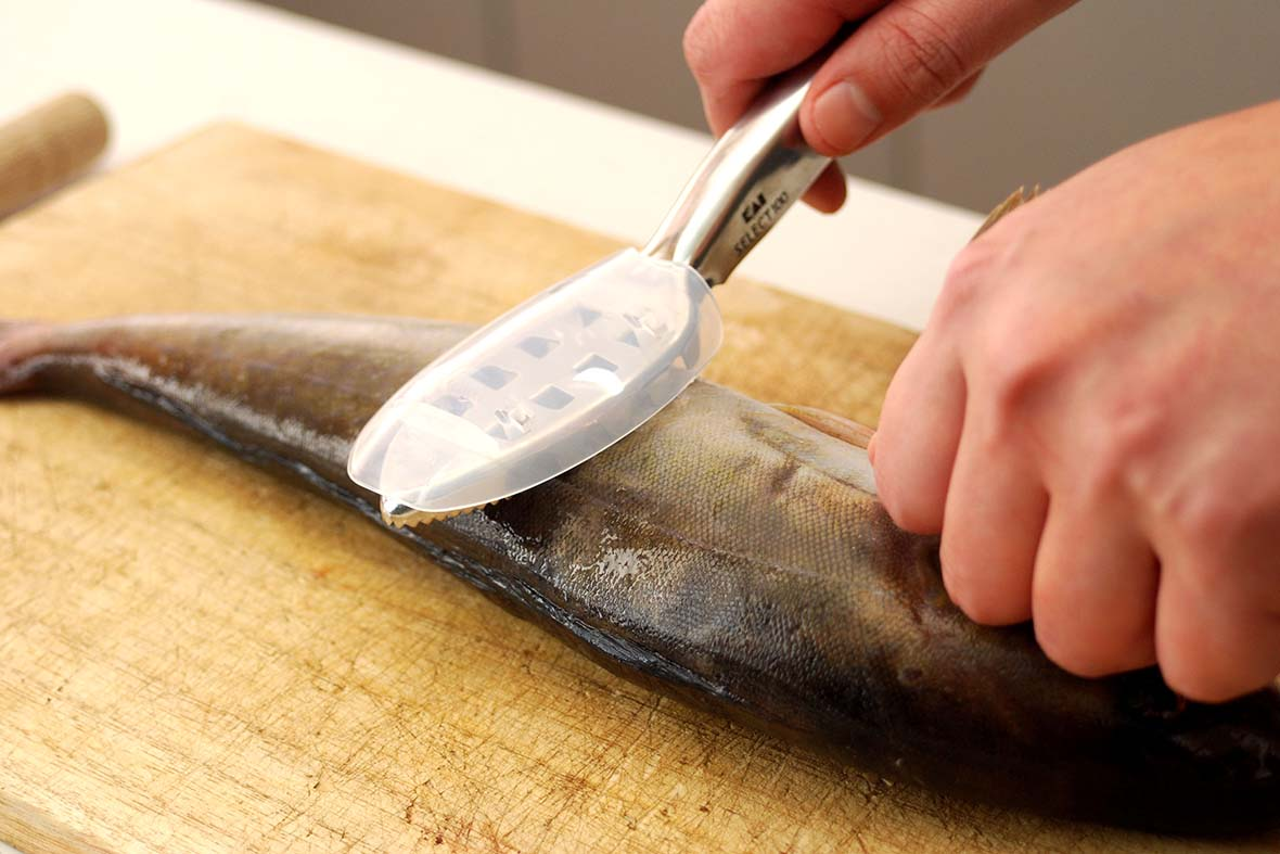 Fish scalers can remove scales more certainly, quickly and safely than knives.