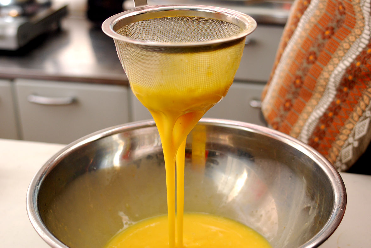 If you filter the egg mixture, it will be smooth and prevent color irregularity in the end.