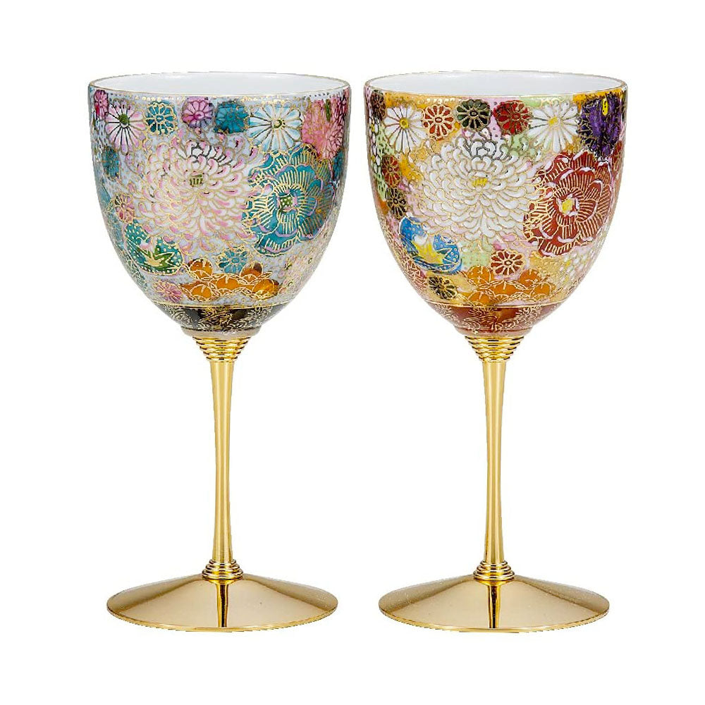 Kutani Ware Hanazume Floral Paired Wine Glasses