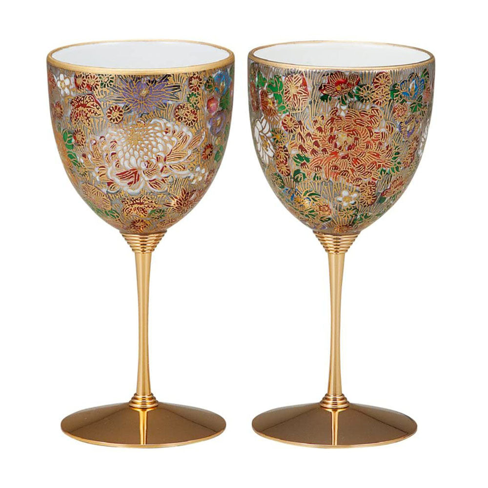 Kutani Ware Hanazume Gold Floral Paired Wine Glasses