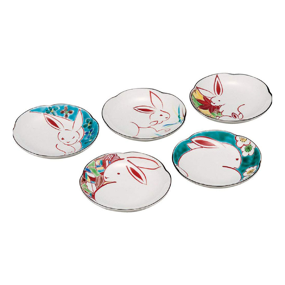 Kutani Ware Rabbit 5 Piece Small Plate Set 13.5cm