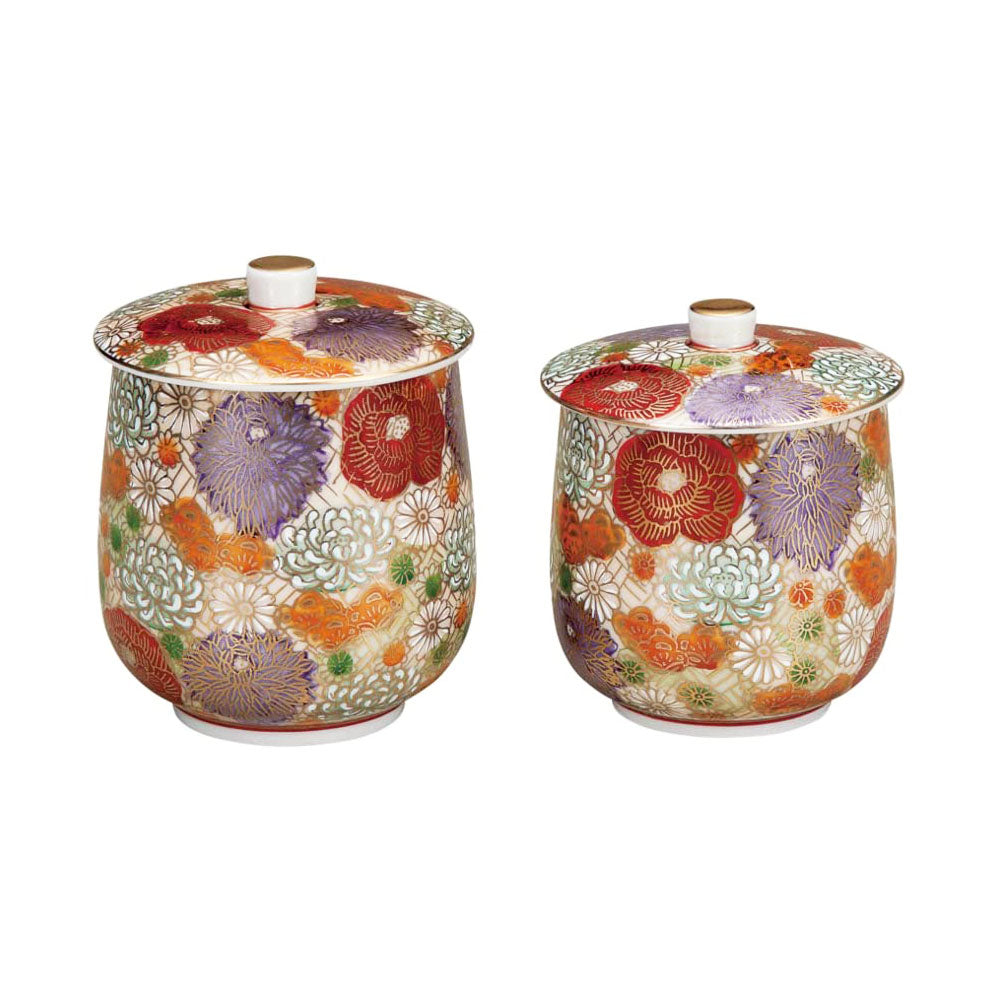 Kutani Ware Hanazume Floral Paired Yunomi Teacups with Lids
