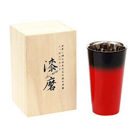 Asahi Shi-moa Urushi Lacquered by Arakawa Double-Wall Cooler Glass 270ml (Gift-Boxed) (2 Colours) Black Stainless Steel Drinkware
