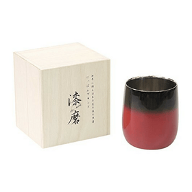 Asahi Shi-moa Urushi Lacquered by Arakawa Double-Wall Round Glass 250ml (Gift-Boxed) (2 Colours) Black Stainless Steel Drinkware