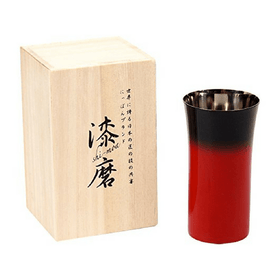 Asahi Shi-moa Urushi Lacquered by Arakawa Small Beer Glass 240ml (Gift-Boxed) (2 Colours) Black Stainless Steel Drinkware