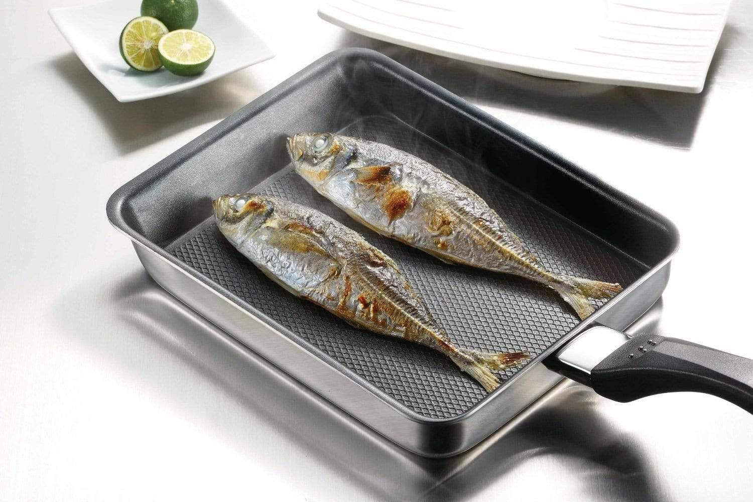 Fujinos 3-Ply Stainless Steel Non-Stick Induction Covered Deep Square Grill Pan Grill Pans