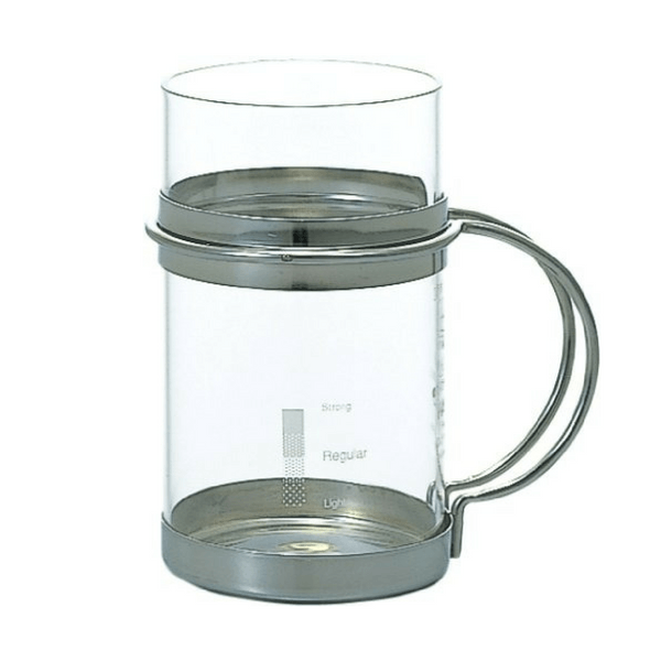 Hario Heat Resistant Chuhai Glass with Stainless Steel Holder 225ml (HWC-8SV) Mugs