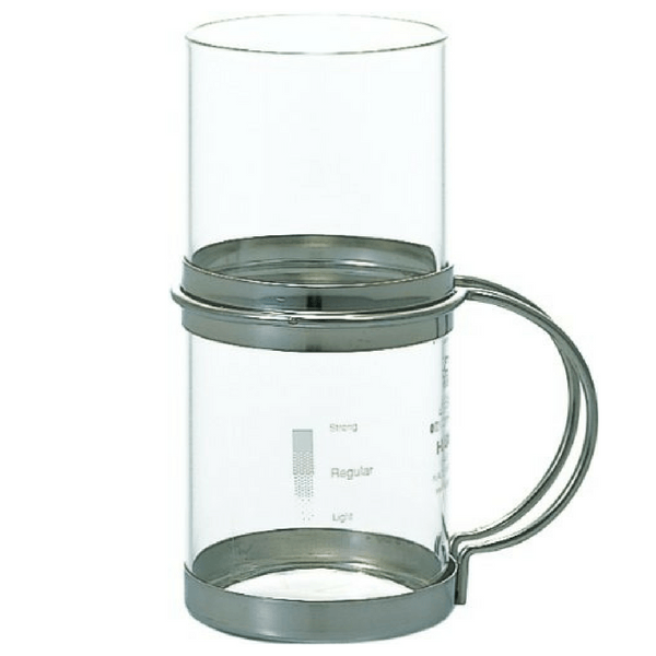 Hario Heat Resistant Chuhai Glass with Stainless Steel Holder 280ml (HWC-10SV) Mugs