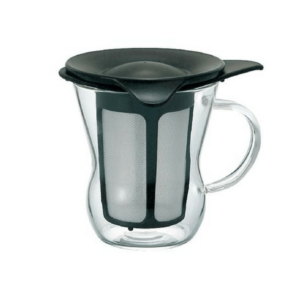Hario Heat Resistant Glass Mug with Infuser 200ml (2 Colours) Black Infuser Mugs
