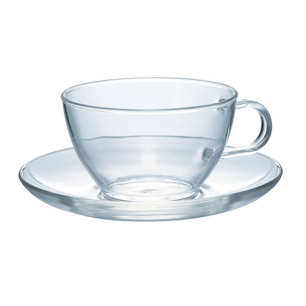 Hario Heat Resistant Glass Teacup & Saucer 230ml Cups & Saucers