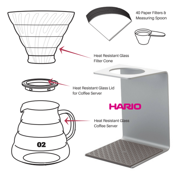 Hario V60 Aluminium Stand & Heat Resistant Glass Coffee Server 02 Set Coffee Makers