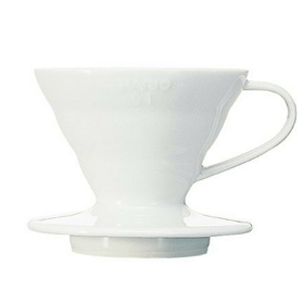 Hario V60 Handcrafted Pour Over Coffee Dripper with Coffee Scoop (Arita Porcelain) VDC-02W (1-4 Cups) Coffee Filter Cones