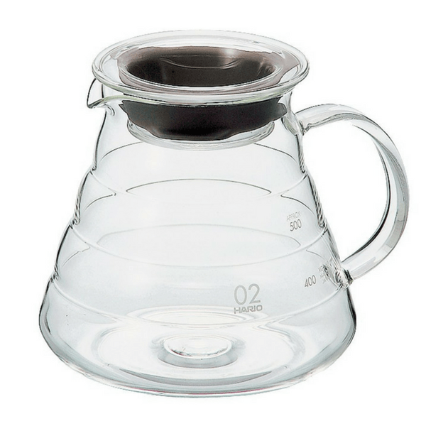Hario V60 Heat Resistant Glass Coffee Server with Glass Lid & Handle 02 - XGS-60TB (600ml) Coffee Carafes