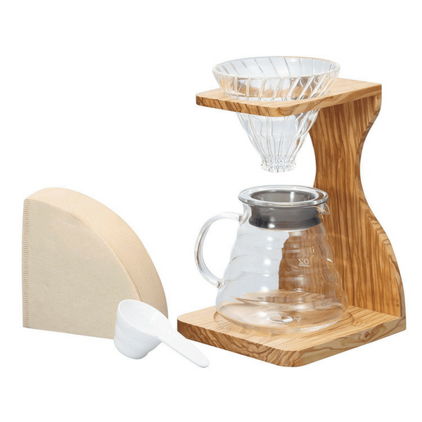 Hario V60 Olive Wood Stand & Heat Resistant Glass Coffee Server 02 Set Coffee Makers