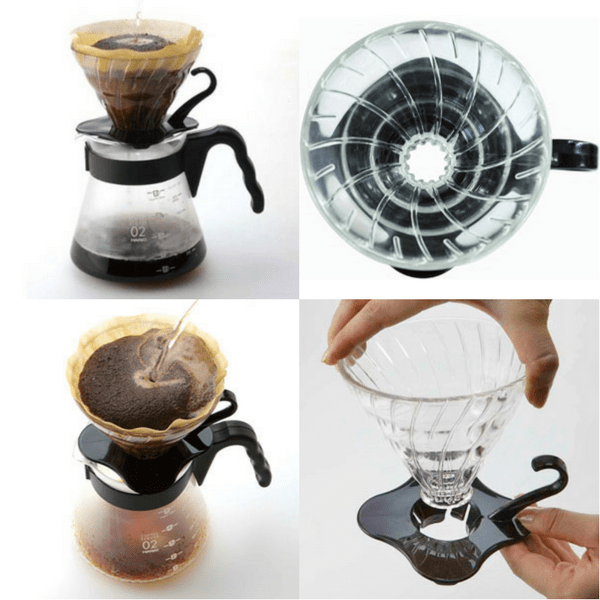 Hario V60 Pour Over Coffee Dripper with Coffee Scoop (Heat Resistant Glass) Coffee Filter Cones